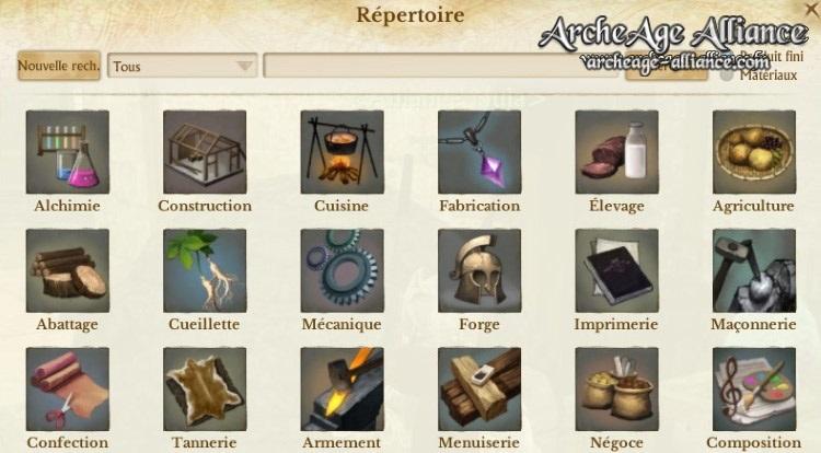 Répertoire des crafts