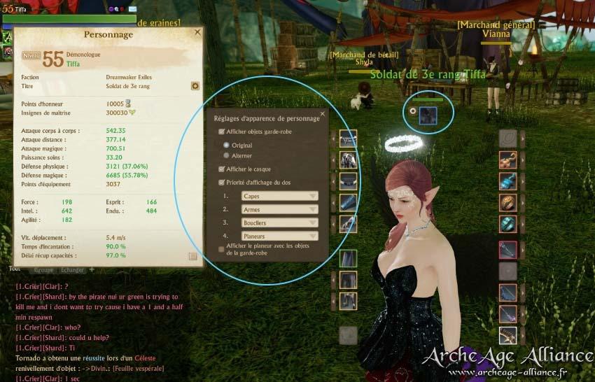 Mini-menu des règlages d'apparence du personnage