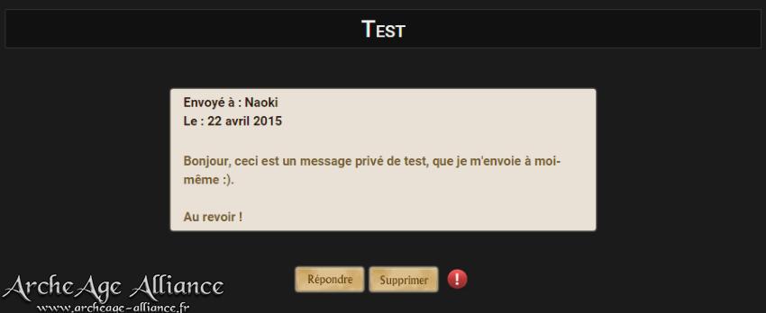 Interface de lecture d'un message privé