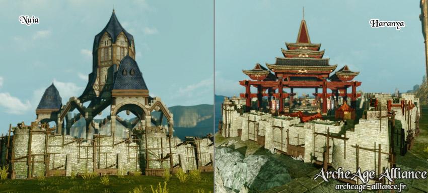 Les forteresses des factions de Nuia et d'Haranya