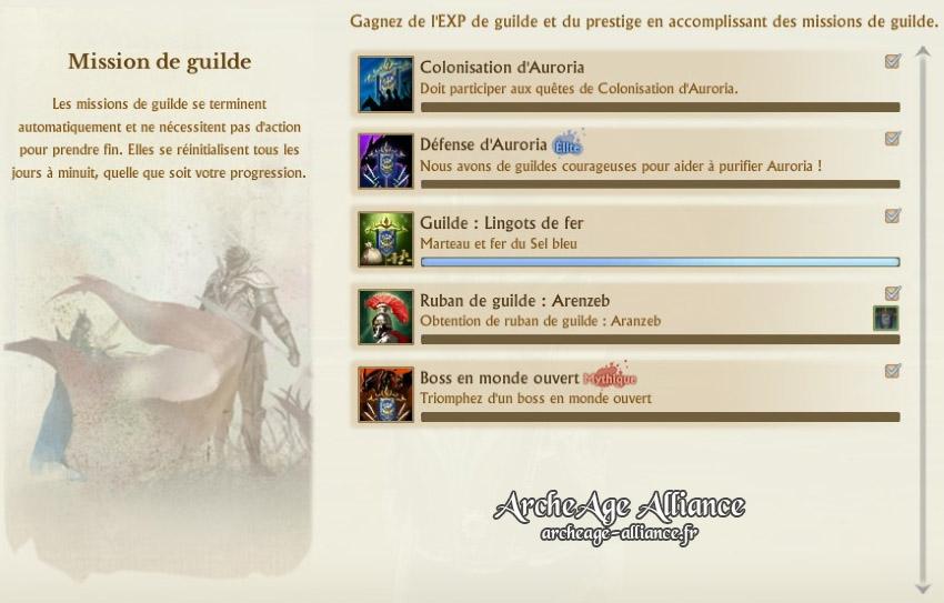 L'interface des quêtes de guilde, pour monter de niveau