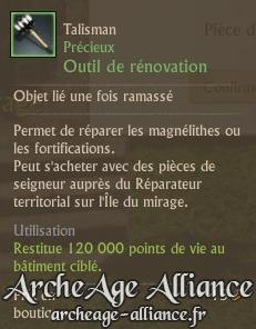 Réparez la magnélithe ou vos fortifications avec cet outil de rénovation