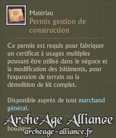 Description d'un permis gestion de construction