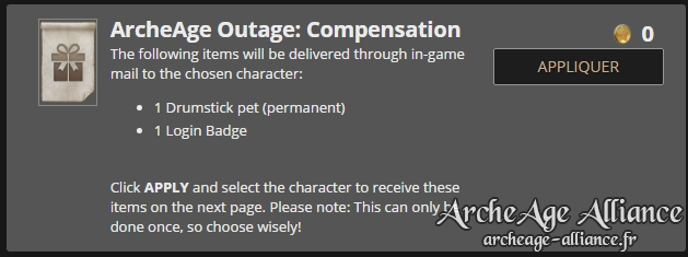 Pack de compensation ArcheAge