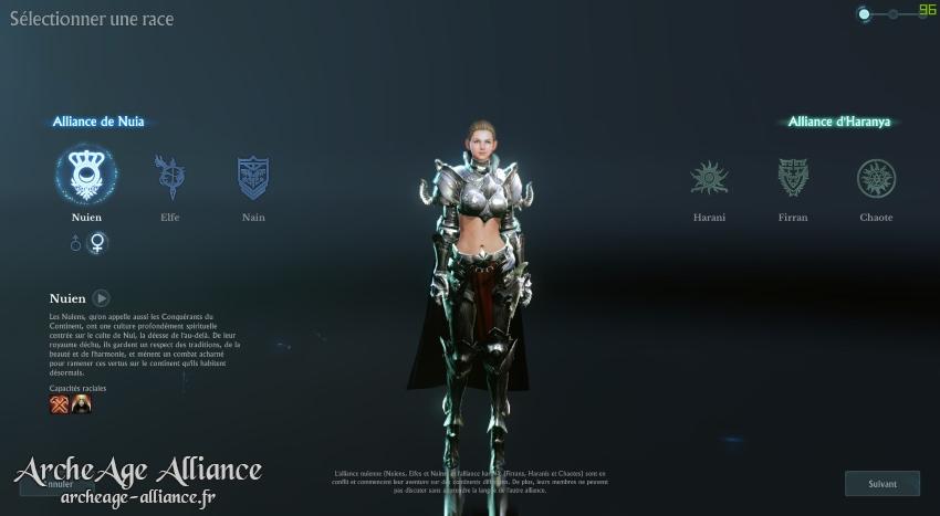 Nouvelle UI pour la création des personnages
