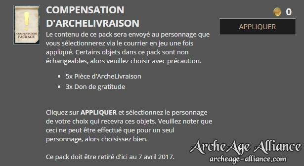 Pack de compensation pour l'événement ArcheLivraison