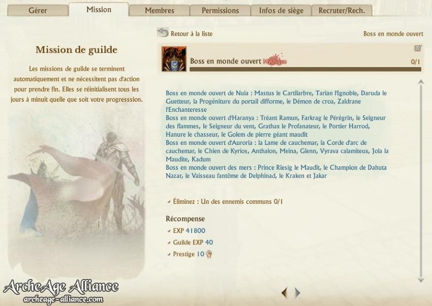 Missions de guilde mises à jour