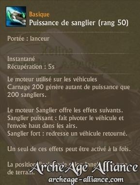 Puissance de sanglier, capacité de la voiture Furia