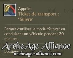 Ticket de transport pour suivre en charrette/fourgon