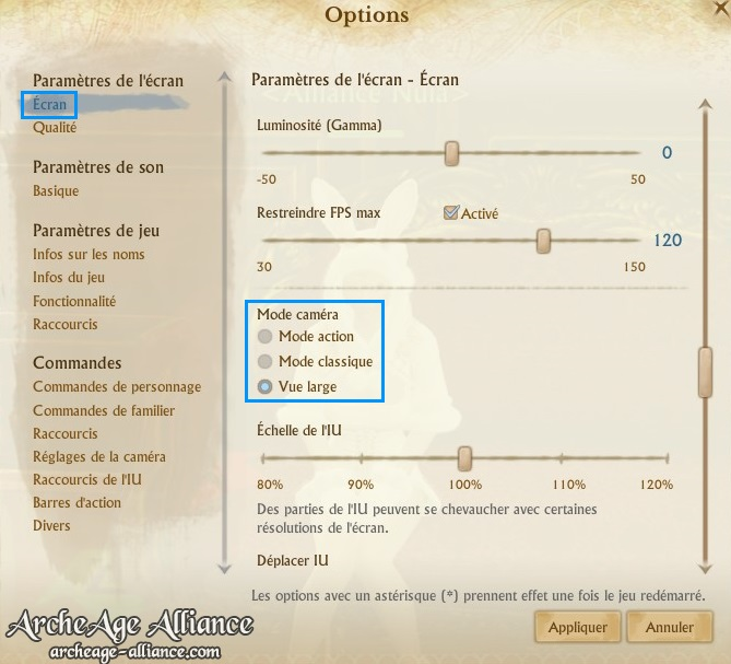 Vue large des options écran