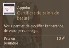 Certificat de changement de salon de beauté