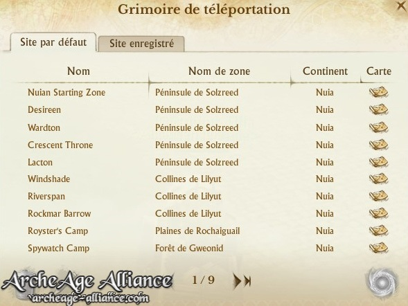 Points de téléportation du grimoire