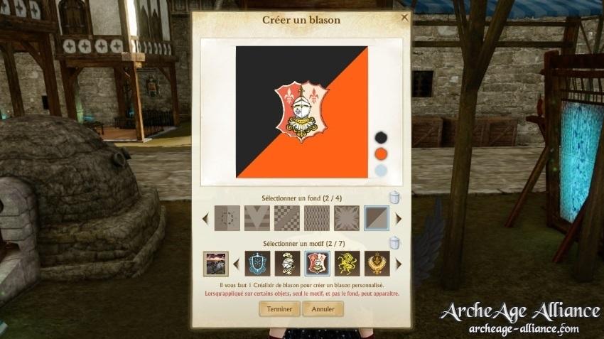 Créer un blason sur ArcheAge