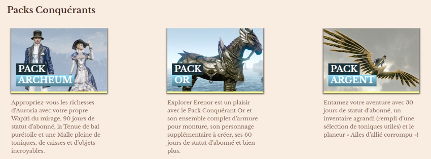 Packs conquérant ArcheAge