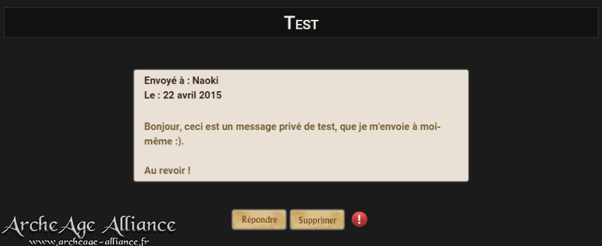 Interface de lecture d'un message privé