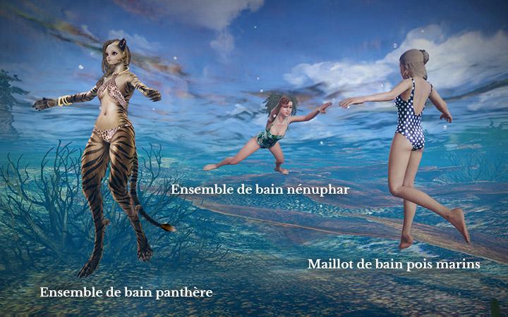 Ensemble de bain panthère, nénuphar, et pois marins