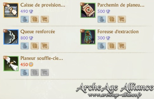 Articles de la boutique ArcheAge