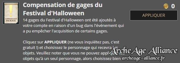 Recevez 14 gages en compensation du Festival d'Halloween