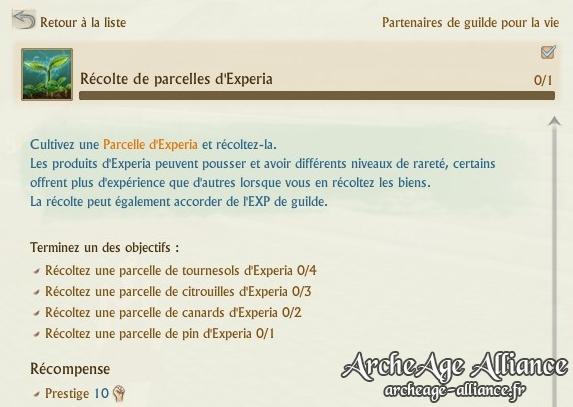 Nouvelle quête de guilde - parcelles d'Experia