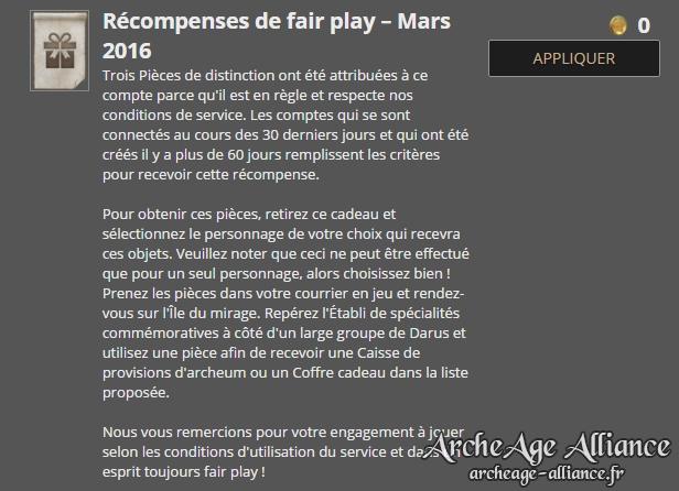 Récompense fair-play de mars 2016