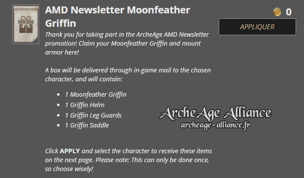 Pack gratuit AMD Newsletter Moonfeather Griffin