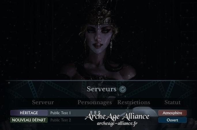 Nouvel écran de sélection de serveur ArcheAge