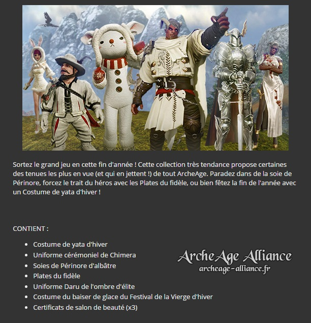 Contenu du pack de costumes d'hiver d'Amary