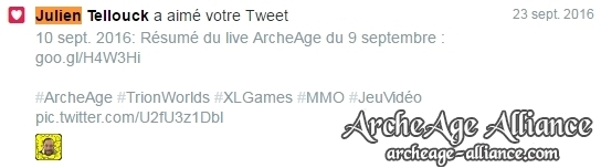 Like Twitter de Julien Telouck pour ArcheAge Alliance