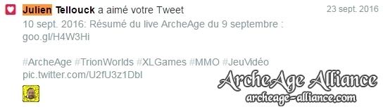 Like Twitter de Julien Telouck pour ArcheAge Alliance