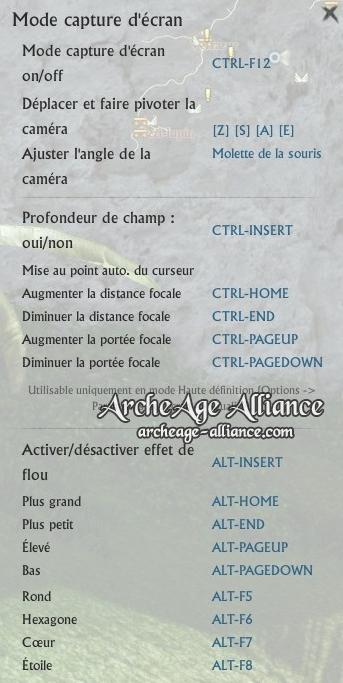 Modes de capture d'écran sur ArcheAge