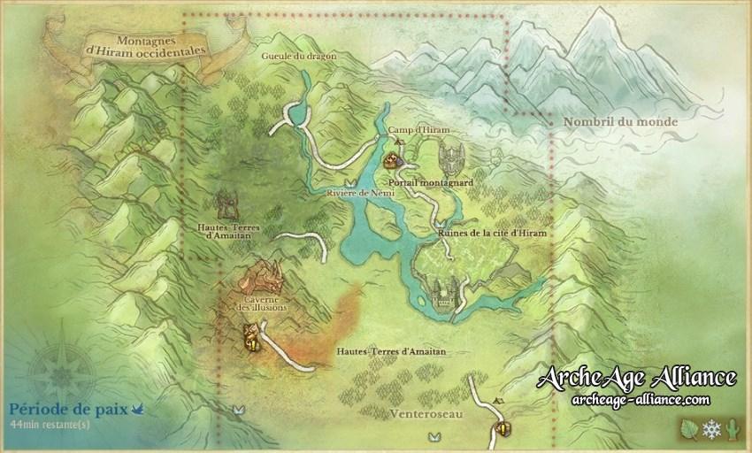 Emplacement des Montagnes d'Hiram occidentales sur la carte