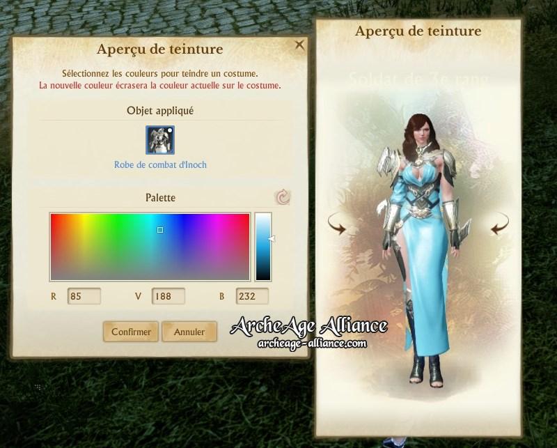 Une véritable palette de couleurs pour teindre à votre convenance vos costumes