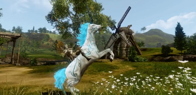 Deux licornes en nouvelle monture sur ArcheAge (Celestar et Lunaris)