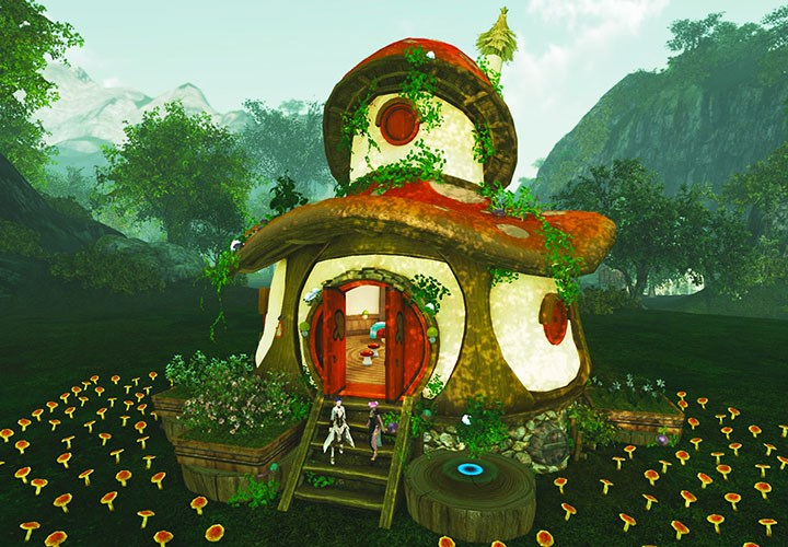 Une maison en forme de champignon