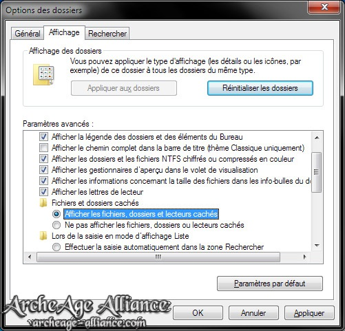 Option des dossiers Windows