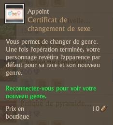 Certificat de changement de sexe