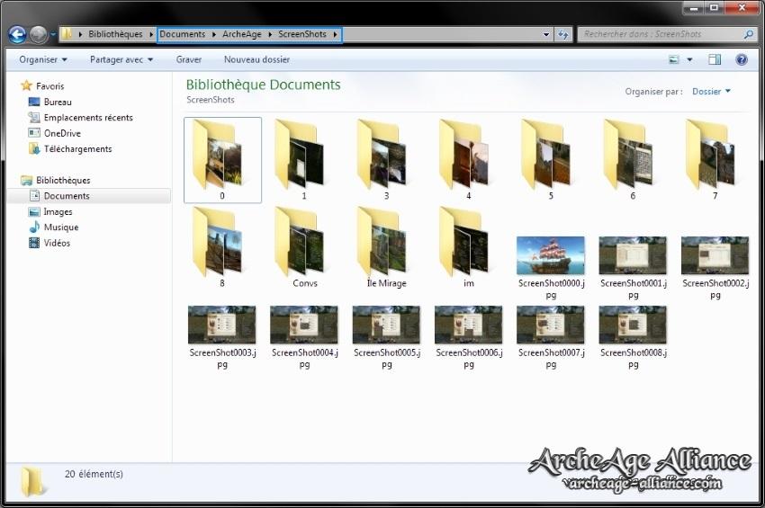 Emplacement sur le PC des screens ArcheAge