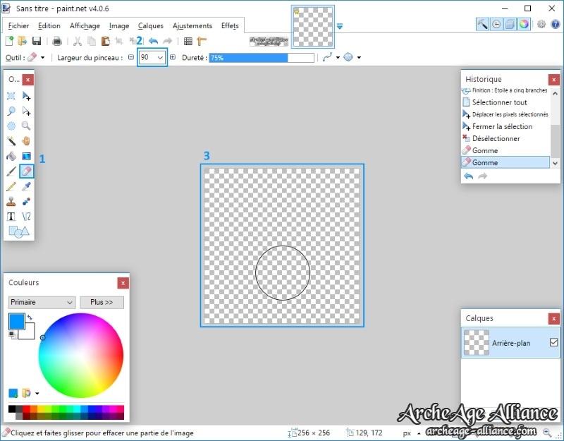 Créez une image transparente de 256x256 pixels