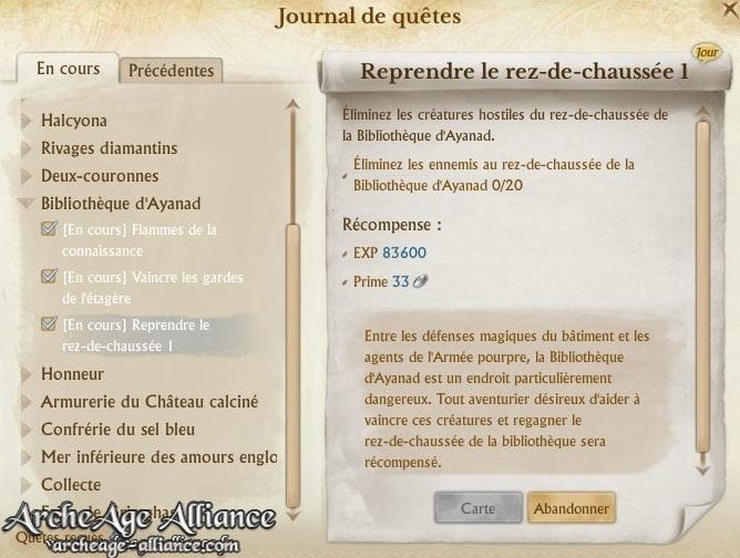 Journal de quêtes